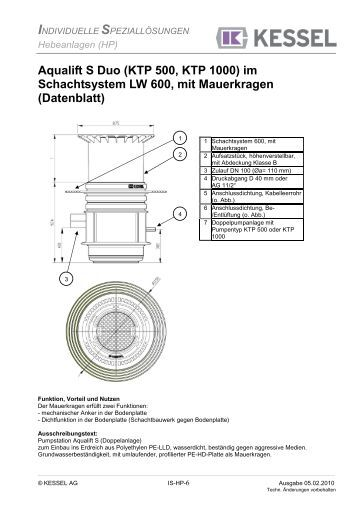 kessel pumpstation aqualift s lw 600 lw 1000 f r. Black Bedroom Furniture Sets. Home Design Ideas