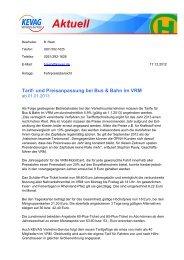 Tarif- und Preisanpassung bei Bus & Bahn im VRM - kevag