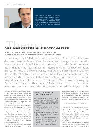 """Artikel in Indukom, 4/2010, """"Der Marketeer als Botschafter"""""""