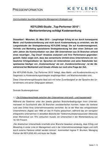 """Pressemitteilung, 25.03.2010, """"KEYLENS-Studie: Top Performer ..."""