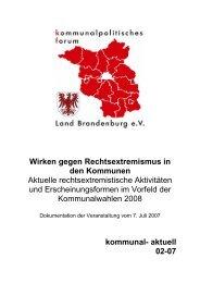 Wirken gegen Rechtsextremismus in den Kommunen Aktuelle ...