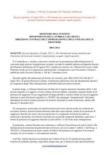 Circolare n. 7595 del 12 settembre 2012 Ministero dell'Interno ...