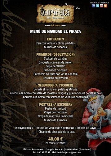 MENÚ DE NAVIDAD EL PIRATA - Restaurant El Pirata