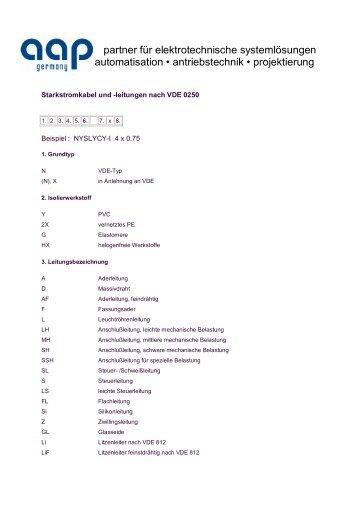 Starkstromkabel und-leitungen nach VDE 0250 - aap germany gmbh