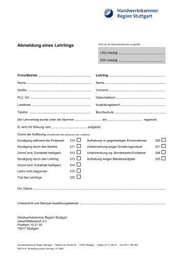 Muster Arbeitsvertrag Kfz Innung Stuttgart