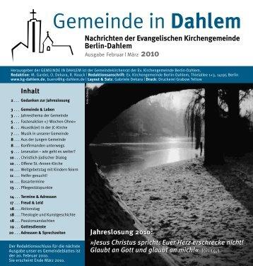 Gemeinde in Dahlem - Evangelische Kirchengemeinde Berlin-Dahlem