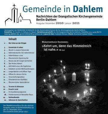 Dezember 2010 - Evangelische Kirchengemeinde Berlin-Dahlem