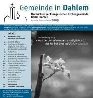 Februar   März 2009 - Evangelischen Kirchengemeinde Berlin-Dahlem