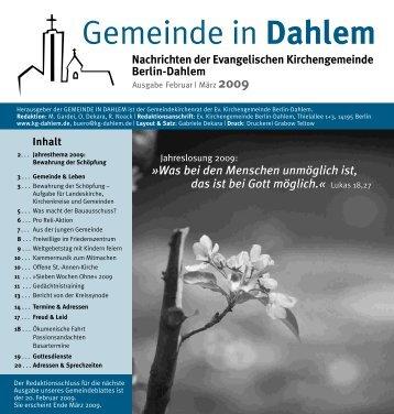 Februar | März 2009 - Evangelischen Kirchengemeinde Berlin-Dahlem