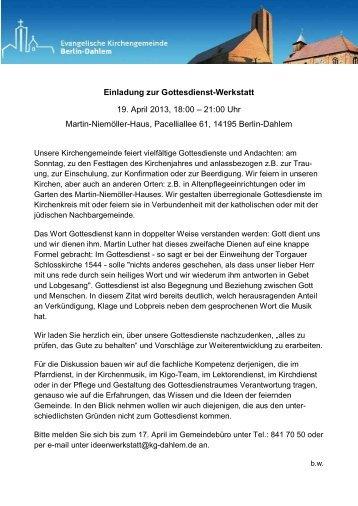 Einladung zur Gottesdienst-Werkstatt 19. April 2013, 18:00 – 21:00 ...