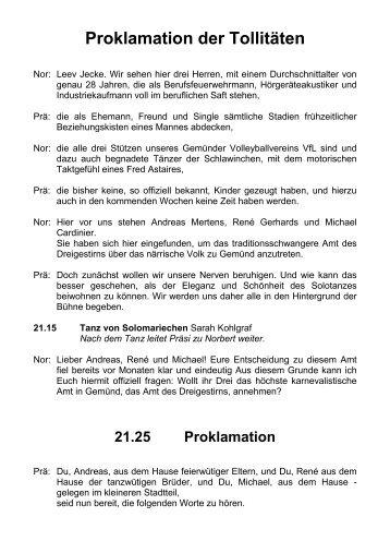Proklamation der Tollitäten - KG Rot-Weiß Gemünd