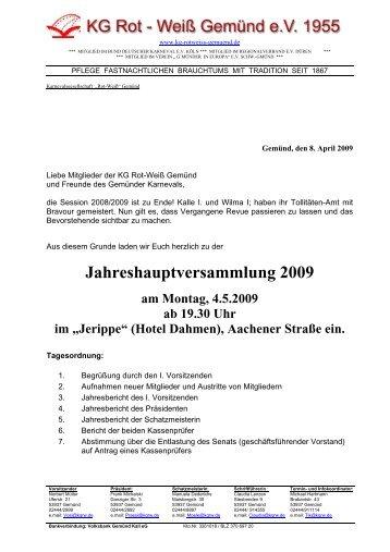 Jahreshauptversammlung 2009 - KG Rot-Weiß Gemünd