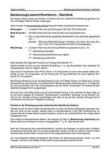 Bankeinzug/Lastschriftverfahren - Überblick