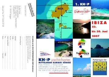 Ibiza-Folder mit Anmelde-Coupon - KH+P Yachtcharter