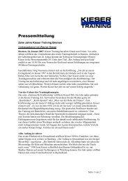 Pressemitteilung - Kieser Training