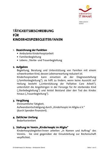 Tätigkeitsbeschreibung. - Kinderhospiz St. Nikolaus