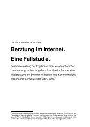 Christina Barbara Schlösser: Beratung im Internet. Eine Fallstudie