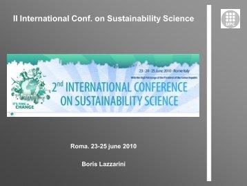 II International Conf. on Sustainability Science - UPC