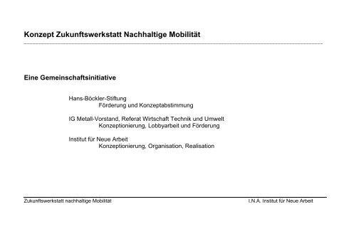 Konzept Zukunftswerkstatt Nachhaltige Mobilität - INA Institut für ...