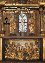 Gemeindebrief Dezember 2011/ Januar 2012 - Ev.