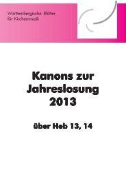 Kanons zur Jahreslosung 2013 - Evangelische Kirchenmusik in ...