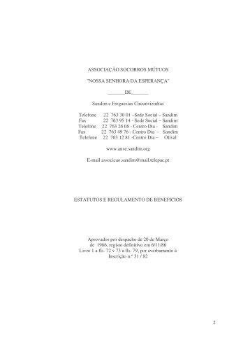 Estatutos - 262Kb - ASM - Nossa Senhora da Esperança - Sandim