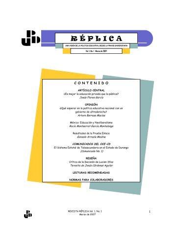 REPLICA No. 1 Vol. I - Universidad Pedagógica de Durango