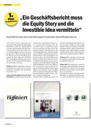 """"""" ein geschäftsbericht muss die equity story und die investible idea ..."""