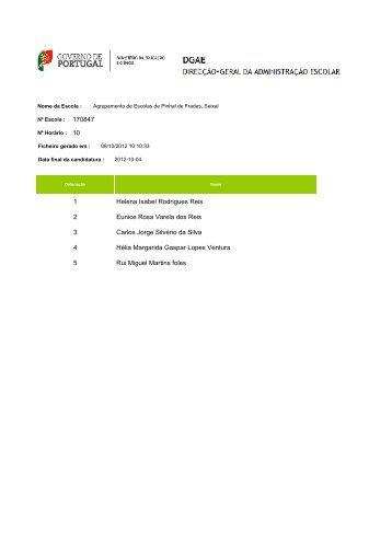 Lista Final de graduação - Agrupamento Escolas Pinhal Frades