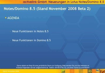 Notes/Domino 8.5 (Stand November 2008 Beta 2) - activelink
