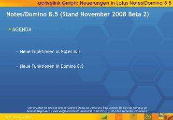Notes/Domino 8.5 (Stand November 2008 Beta 2) - activelink
