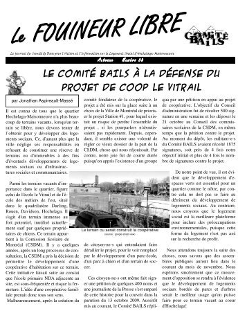 Fouineur libre #33 – novembre 2009 - Comités Logement ...