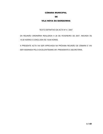 1 / 13 CÂMARA MUNICIPAL DE VILA NOVA DA BARQUINHA