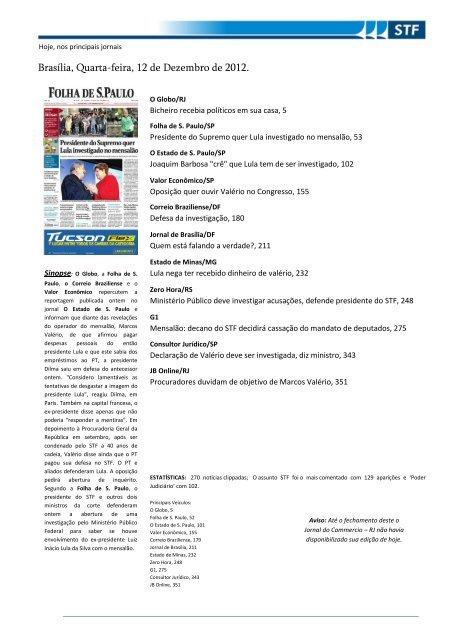 Brasília Quarta Feira 12 De Dezembro De 2012 Para A