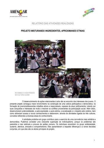 Relatório com fotos Criança Esperança ... - Amencar