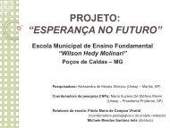 """Projeto: """"ESPERANÇA NO FUTURO"""". Escola Municipal de Ensino ..."""