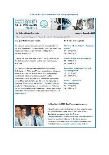 Newsletter Dezember 2009 - Management-Institut Dr. A. Kitzmann