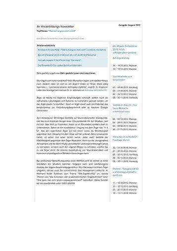 August 2012 Newsletter - Management-Institut Dr. A. Kitzmann