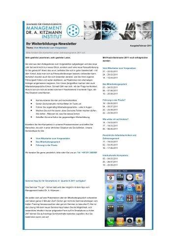 Newsletter Februar 2011 - Management-Institut Dr. A. Kitzmann