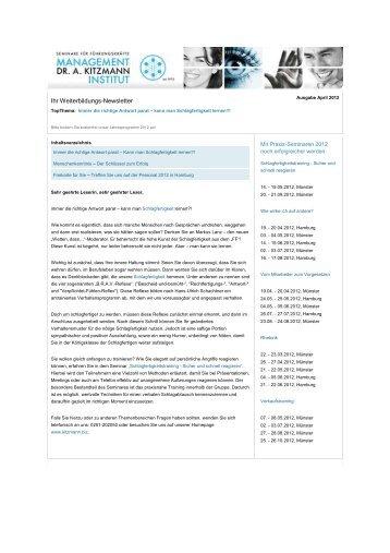 Newsletter April 2012 - Management-Institut Dr. A. Kitzmann