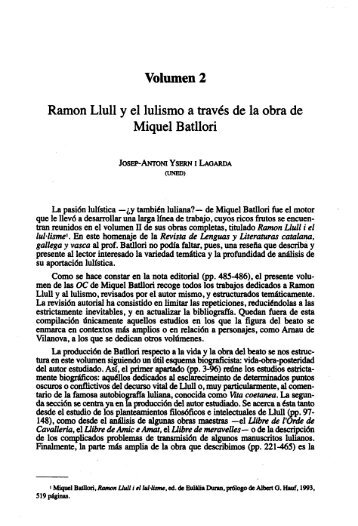 Volumen 2. Ramon Llull y el Lulismo a Través de ... - e-spacio UNED