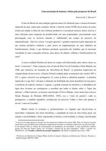 Uma associação de homens e ideias pelo progresso do ... - SBHC