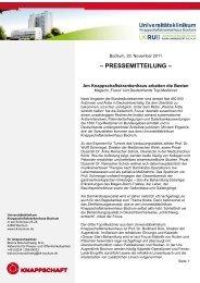 – PRESSEMITTEILUNG – - Knappschaftskrankenhaus Bochum