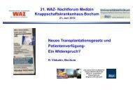 21. WAZ- Nachtforum Medizin Knappschaftskrankenhaus Bochum Neues ...