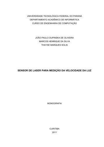 SENSOR DE LASER PARA MEDIÇÃO DA VELOCIDADE DA LUZ