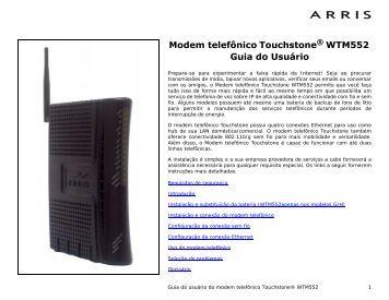 Modem telefônico Touchstone WTM552 Guia do Usuário - Arris