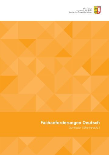 Fachanforderungen Deutsch - Neuere deutsche Literatur und Medien