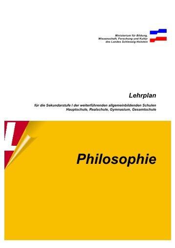 Sekundarstufe Lehrplan Philosophie - Lehrpläne