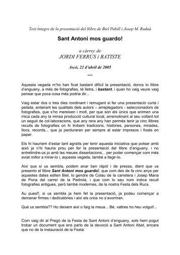 Sant Antoni mos guardo! JORDI FERRÚS i BATISTE - Associació ...