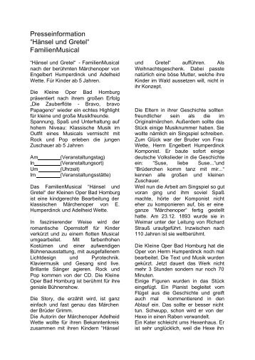 Presseinformation Haensel und Gretel. - Kleine Oper